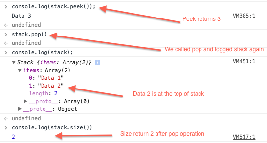 Javascript Stack - Peek, Pop and Size